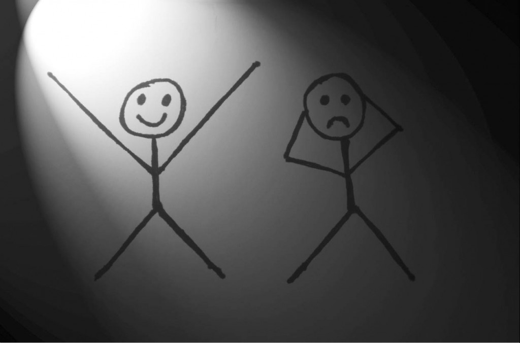 Acting practice in a stick figure drawing.