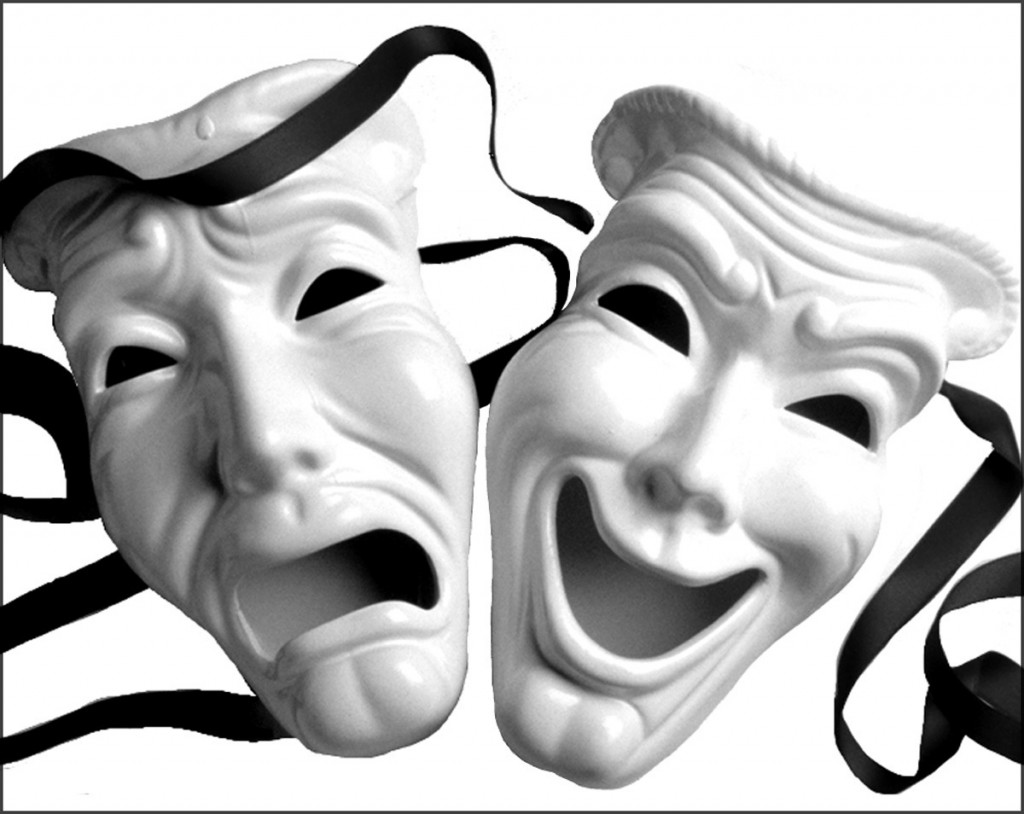 The classic image of the Greek theater masks.