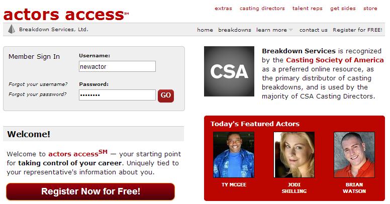 The Actors Access landing page
