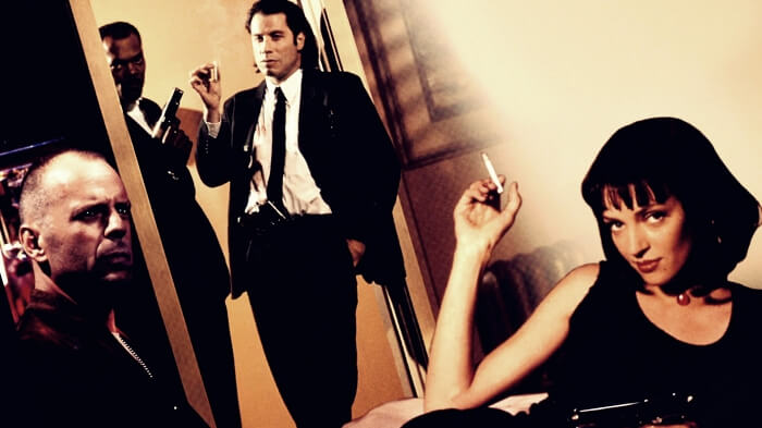 bruce willis, samuel l jackson, john travolta, uma thurman in pulp fiction