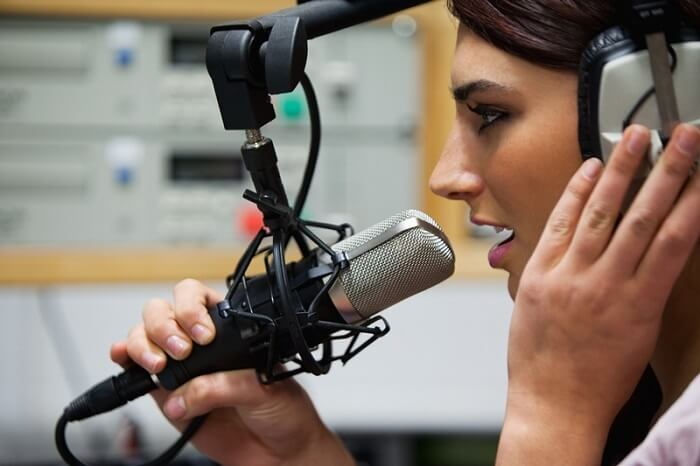 Girl recording a track