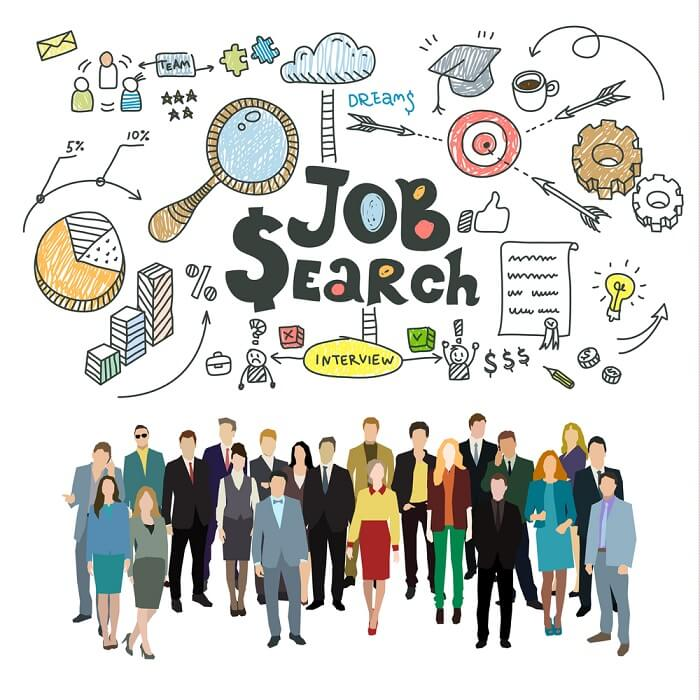 Group of people in job search