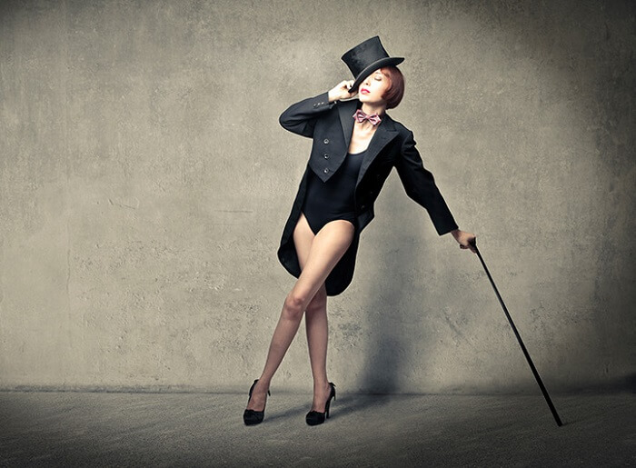Cabaret woman with a cane
