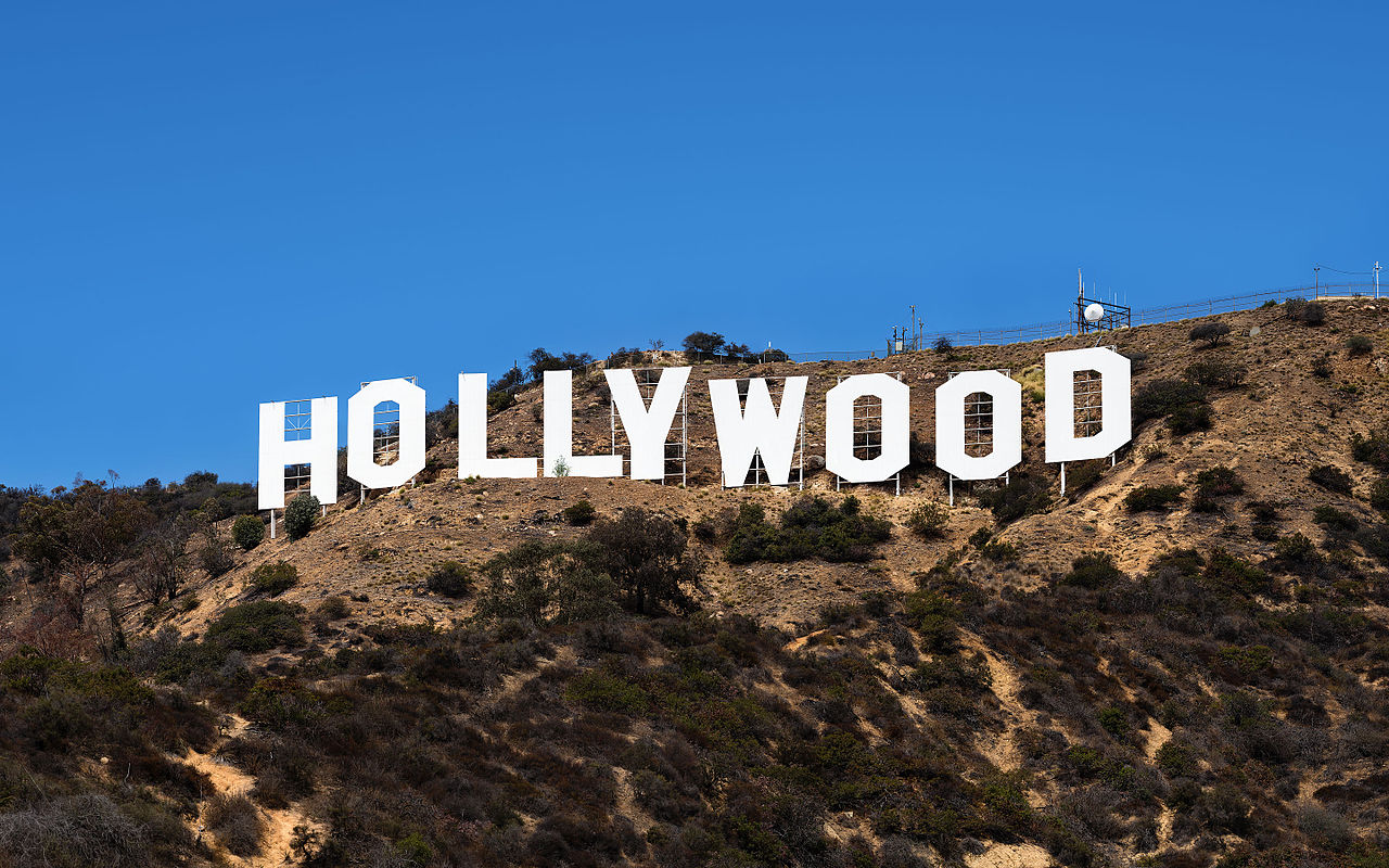Hollywood On Green Mountain under blue sky