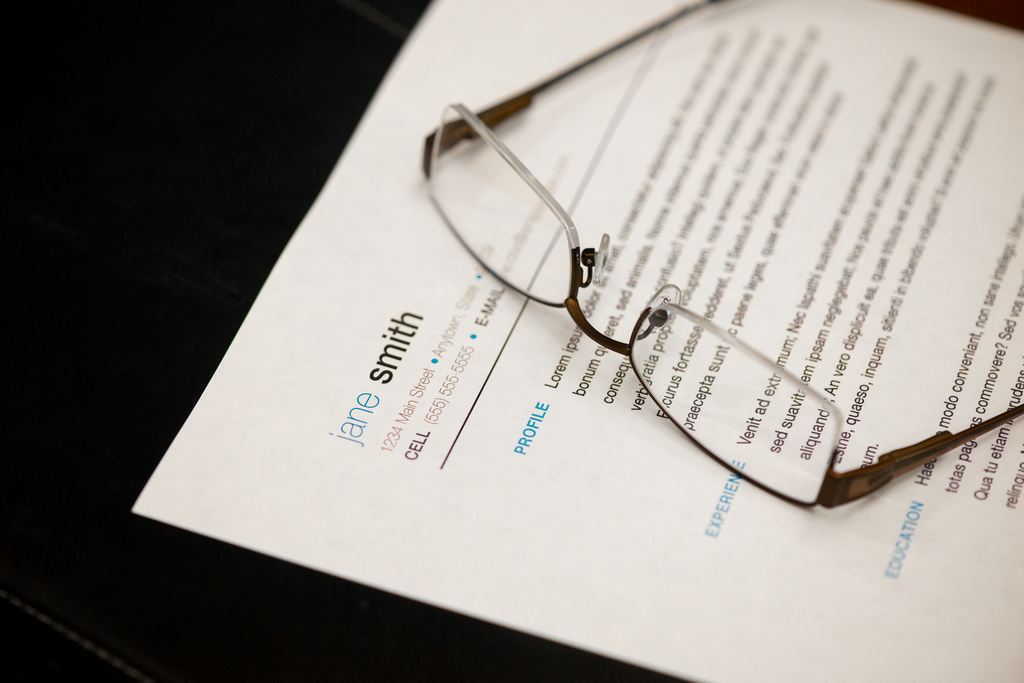 Eye Glasses on paper background close up